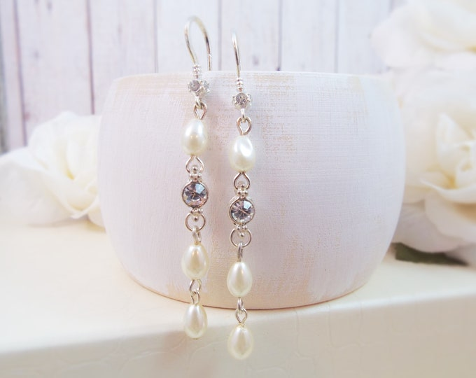 Long Pearl & Crystal Drop Earrings-Bridal Jewelry