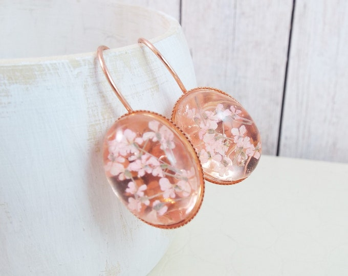 Rose Gold Real Pressed Flower Blush Pink Earrings