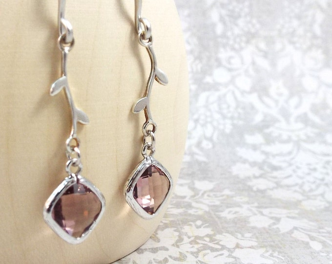 Dusty Rose Modern Vine Silver Earrings - Elegance - Split Personality Designs