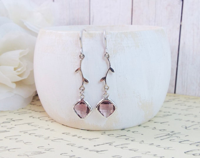 Dusty Rose Mauve Modern Vine Silver Earrings