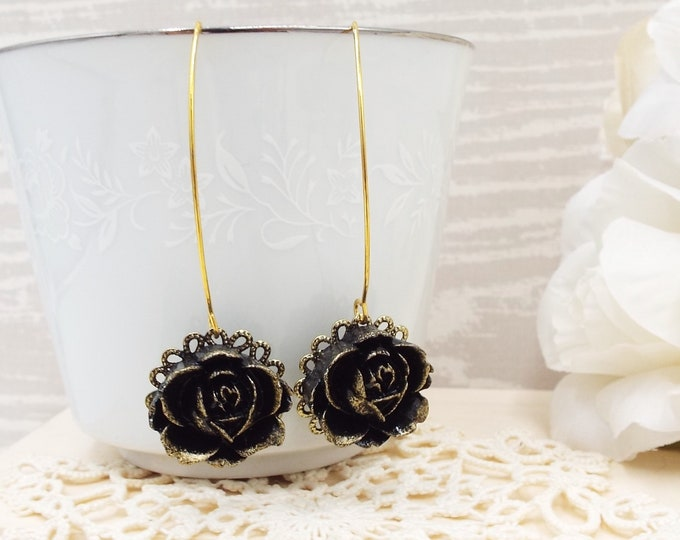 Gilded Black Rose Flower Long Gold Earrings