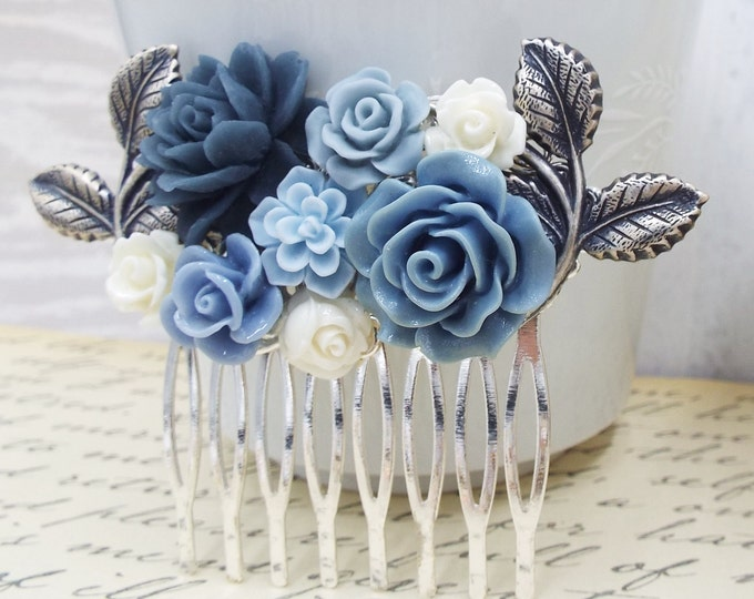Silver Winter Flower Bridal Comb