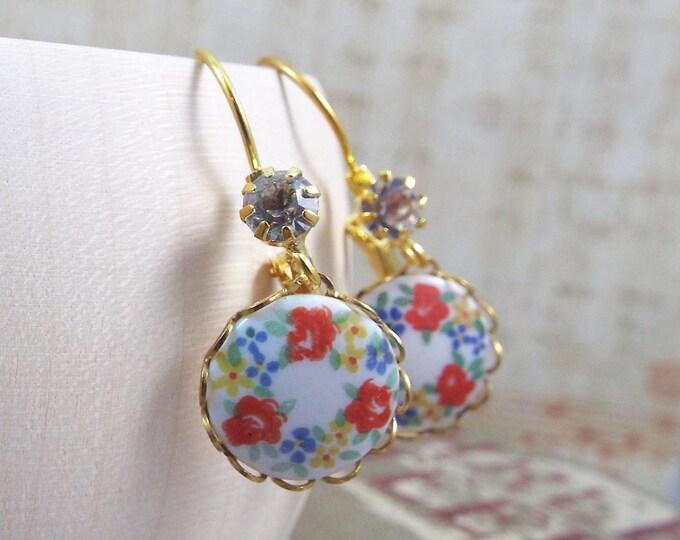 Peach Flower Porcelain Gold Earrings - Modern Vintage by SPDJewelry