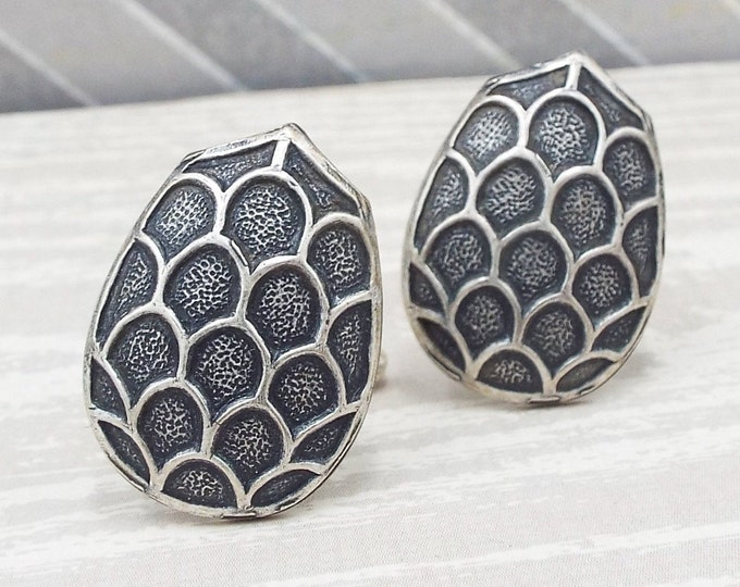 Oxidized Silver Dragon Shield Egg Cufflinks