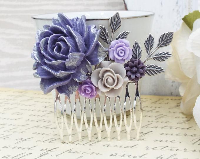 LILAC MIST Purple Silver Flower Bridal Hair Comb
