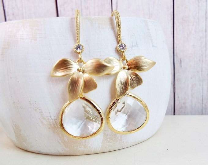 Gold Orchid Flower, Crystal Glass Dangle Earrings