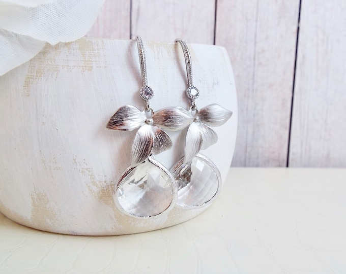 Silver Orchid Flower Crystal Glass Bridal Jewelry Leaf Blossom Dangle Earrings Bridesmaids Gift Chandelier Nature Garden