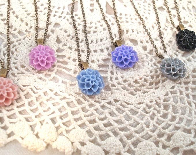 Customized Dahlia Mum Necklace - Bridesmaid Flower Girl Pendant - Vintage Wedding Jewelry Custom Rustic Jewelry - Inspirational Jewelry