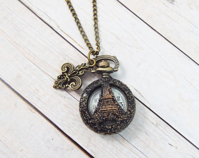 Petite Victorian Bronze Black Fleur De Lis, Eiffel Tower Paris Pocket Watch Necklace Pendant - by Split Personality Designs