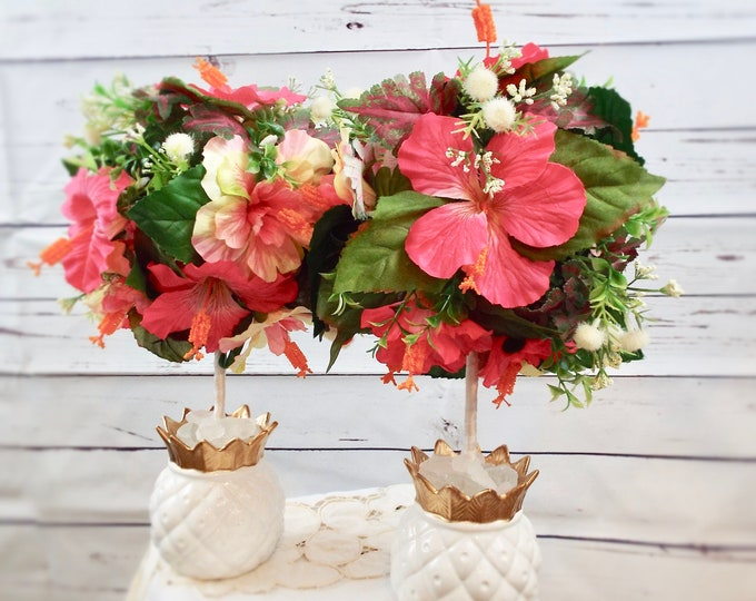Pink Flamingo Hibiscus Tropical Pineapple Wedding Party Flower Floral Home Decor Centerpieces Topiary Set - Nursery Bedroom Hostess Gift