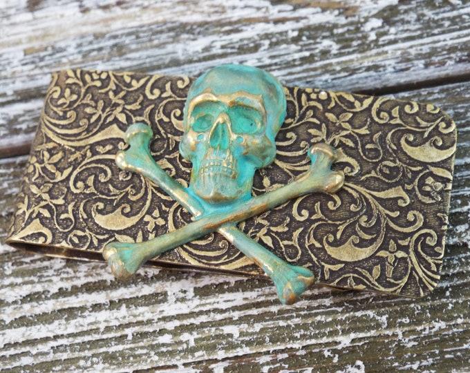 Bronze Patina Verdigris Skull Embossed Money Clip - Men's Accessorries by Split Personality