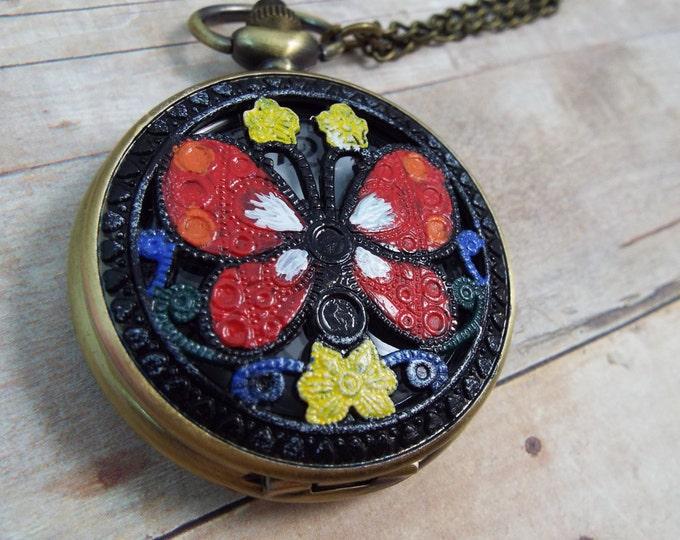 Swedish Rosemaling Butterfly Pocket Watch Necklace - Mariposa - Enamel Shabby Chic