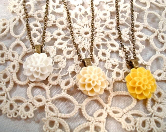 Customized Dahlia Mum Necklace - Bridesmaid Flower Girl Pendant - Vintage Wedding Jewelry Custom Rustic Jewelry - Inspirational Gift