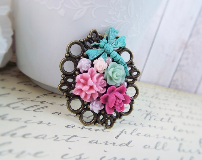 Dragonfly Flower Victorian Floral Cameo Brooch - Teal Mint Lavender Pink