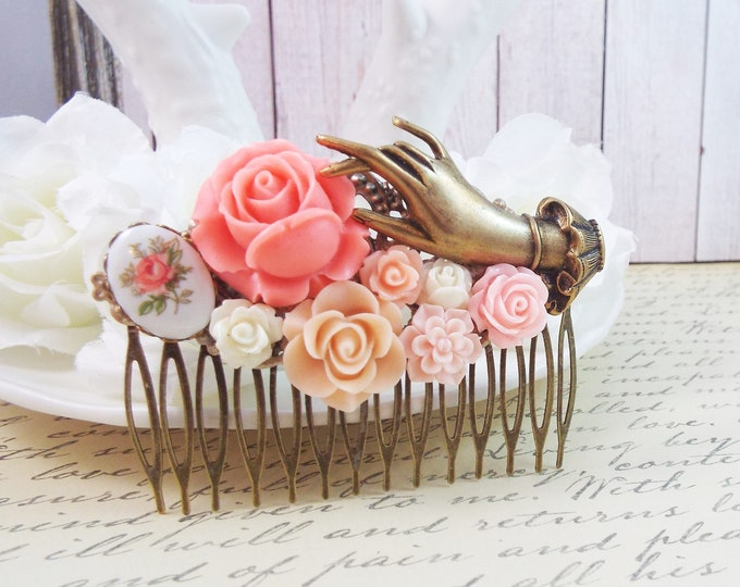 Victorian Hand Flower Bridal Hair Comb, Pink Rose Wedding - Vintage Hair Accessory