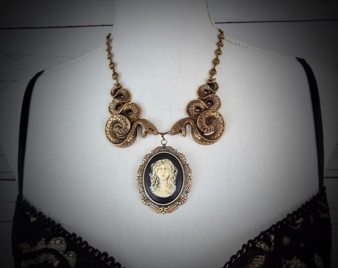 Medusa Cameo Snake Serpent Statement Necklace - Gothic  Jewelry - Greek Mythology