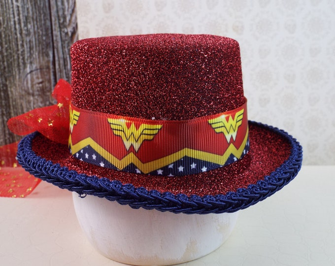 Wonder Woman Fascinator Mini Top Hat