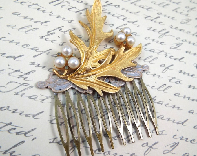 Vintage Leaf Brooch Pearl Bridal Hair Comb - Something Old
