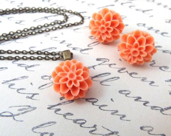 CUSTOM Dahlia Bridemaids Flower Girl Pendant Earrings - Vintage Inspired Wedding Jewelry