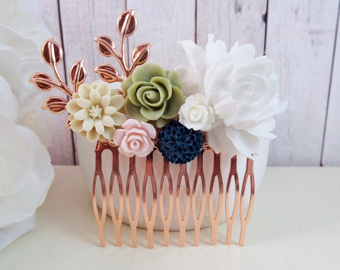 Rose Gold Blush, Navy -Blythe - Spray Bridal Comb