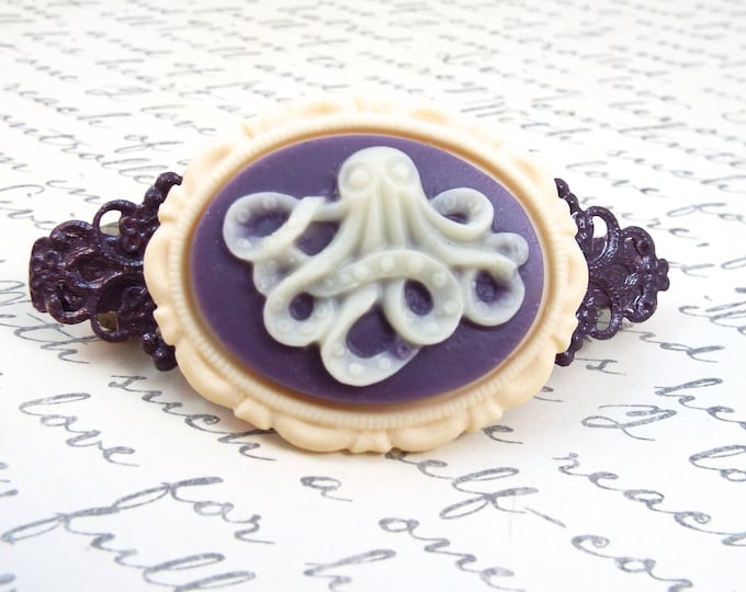 Nautical Octopus Cameo Purple Barrette - Modern Vintage by SPDJewelry
