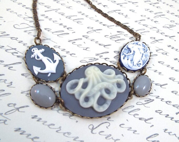 Nautical Octopus Cameo Necklace- Mermaid & Anchor Bib - Cthulhu Jewelry HP Lovecraft Gift for Wife Girlfriend Daughter