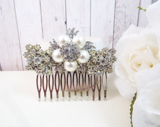 Vintage Rhinestone Brooch Pearl Bridal Hair Comb - Vintage Sparkle - Something Old