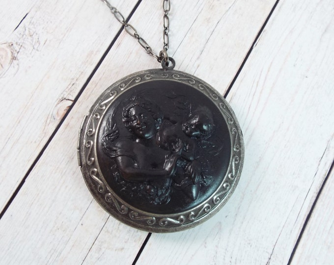 Mother Child Locket Large Round Black Picture Pendant Layering Necklace Vintage Style Antiqued Filigree - Memorial Keepsake Jewelry