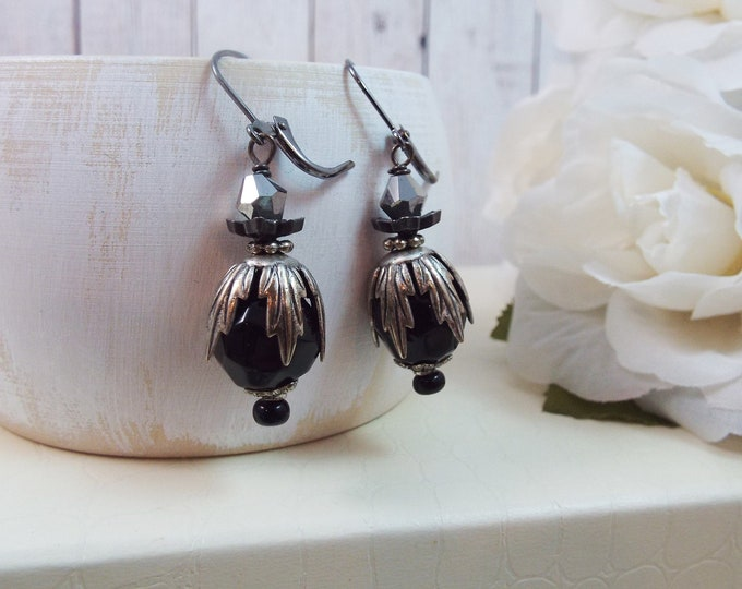 Black Silver Art Nouveau Deco Drop Earrings - La Patine Du Temps