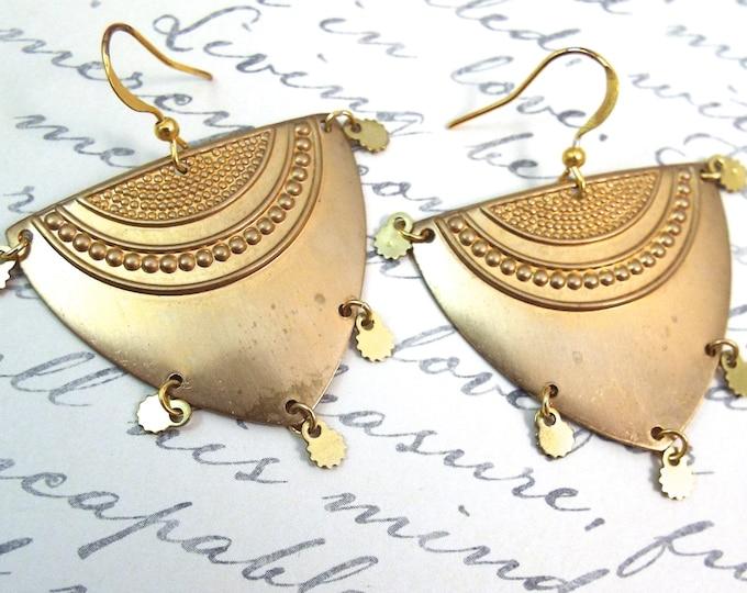Tribal Gold Shield Fringe Earrings - Brass Geometric Earrings