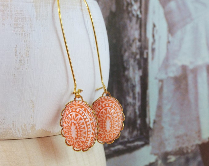 Orange White Tribal Raw Brass Gold Long Earrings - Geometric Bohemian BOHO Jewelry