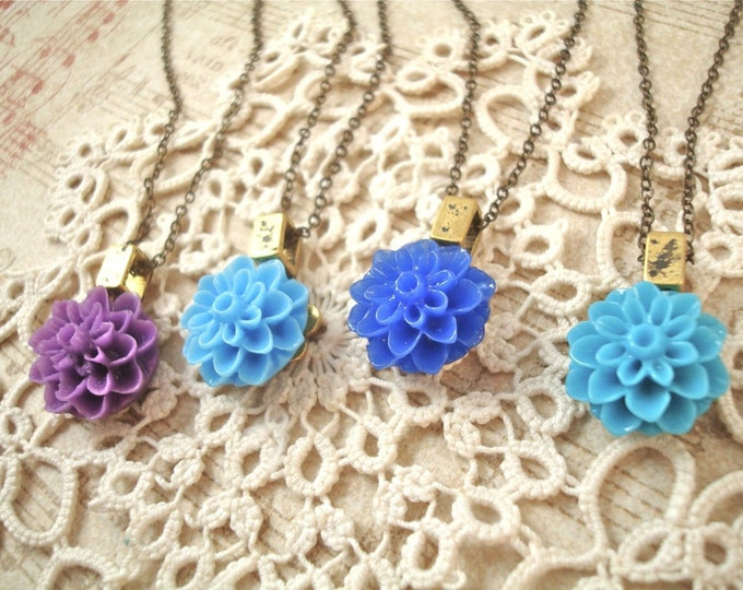 Customized Dahlia Mum Necklace - Bridesmaid Flower Girl Pendant - Vintage Wedding Jewelry Custom Rustic Jewelry - Inspirational