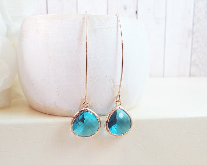 Teal Blue Glass, Modern Design, Long Dangle, Rose Gold, Everyday Earrings, Long Ear Wire, Gift for Her, Gift For Mom - Bridesmaid Gifts
