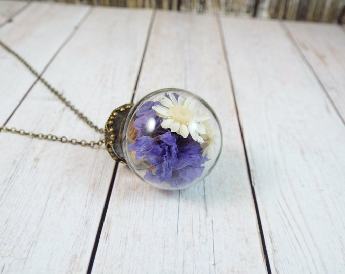 Real Preserved Flowers Glass Ball Globe Pendant Necklace - Minnesota Purple Corn Flower, Upland White Goldenrod - Pressed Dried Flowers