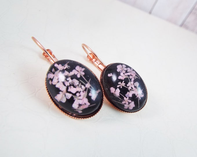 Rose Gold Real Pressed Flower Black Earrings