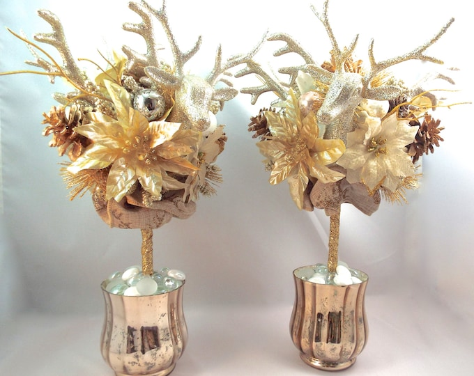 Gold Champagne Deer Antler Pine Cone Poinsettia Holiday Topiary Set - Modern Christmas Winter Decor - Wedding Centerpieces