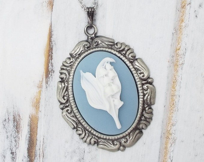 Victorian Lilly of the Valley Dusty Blue White Cameo Necklace