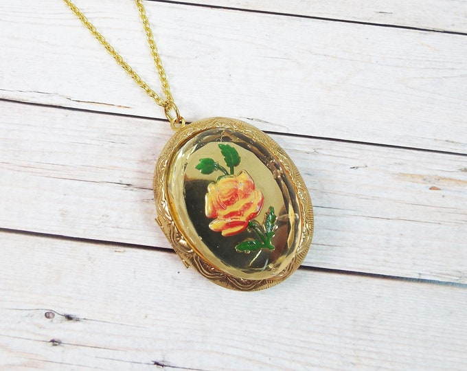 Gold Rose Reverse Painted Glass Photo Locket
