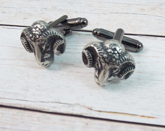 Silver Ram Goat Rustic Farm, Gothic Cuff Links Cufflinks - Samhain Wedding, Father of the Bride, Groom - Men's Accessories Split Personality