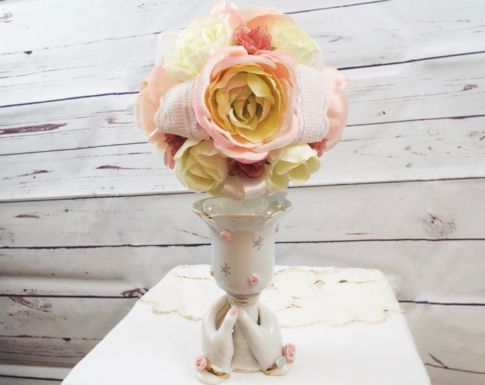 Antique Rose Ladies Hands Porcelain Topiary Vase, Shabby Chic Pink White Wedding, Flower Floral Home Decor, Nursery - Boudoir Accessories