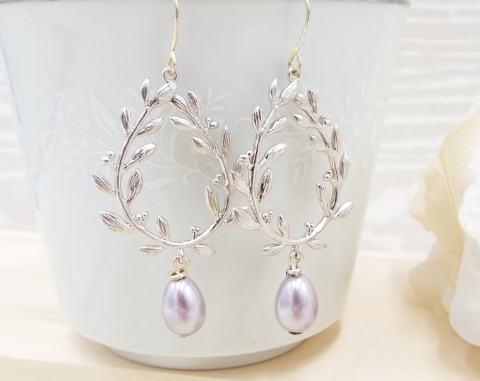 Lavender Silver Wedding Laurel Berry Wreath Earrings