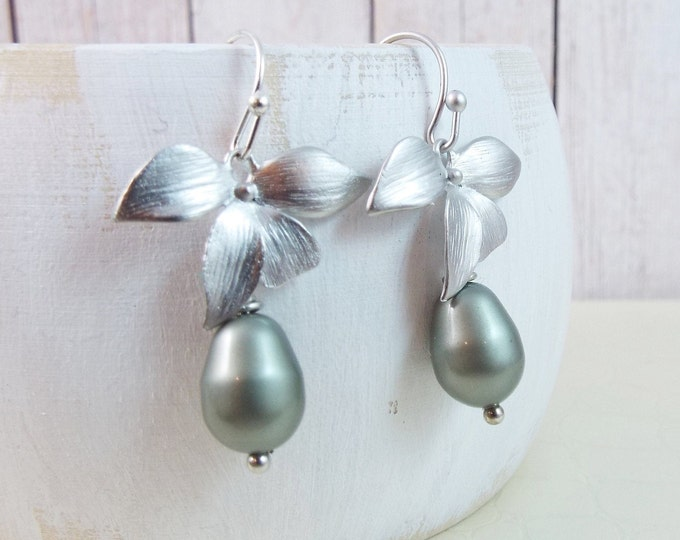 Silver, Matte Rhodium Orchid Flower Sage Pearl Earrings