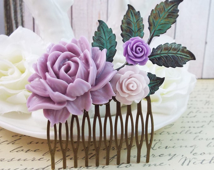 Lavender Mint Floral Rustic Bridal Hair Comb - Purple Wedding
