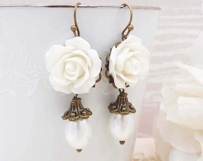Snow White Victorian Rose Pearl Drop Bridal Earrings