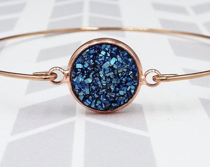 Navy Blue Faux Druzy Rose Gold Bangle Bracelet
