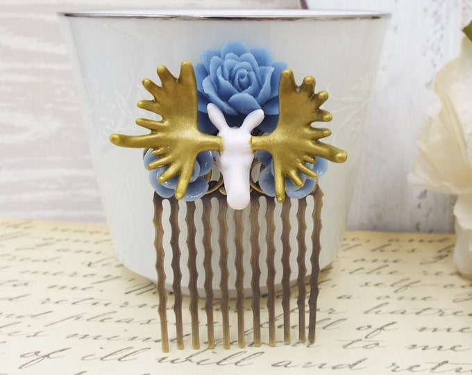 Petite Moose in the Lupine Dusty Blue Comb