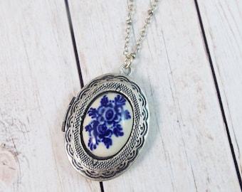 Vintage Delft Blue White Rose Flower Photo Locket Silver Pendant - Keepsake Gift by Split Personality Designs
