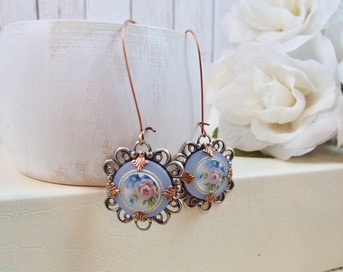 Rose Gold Antique Silver, Sky Blue Glass Flower, Floral Bouquet, Long Earrings - Copper Blush Wedding - Modern Victorian Vintage Garden