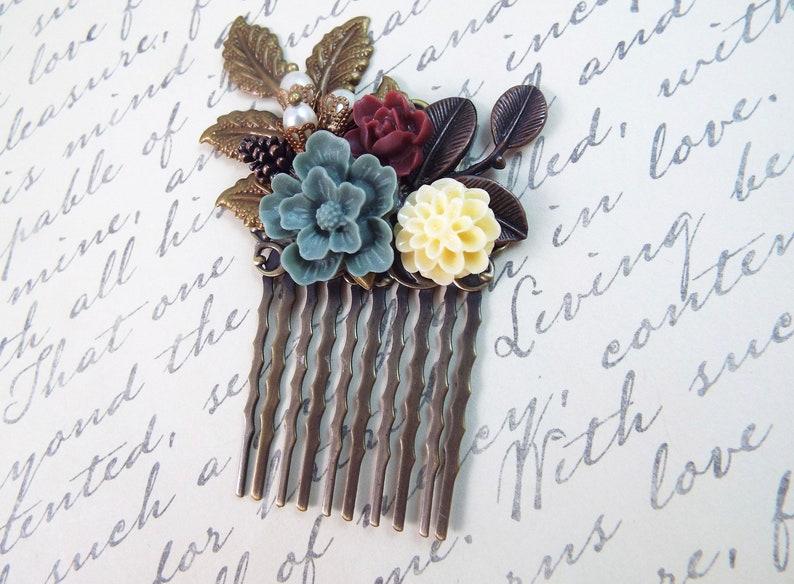 Vintage Hair Accessory Ivory Pearl Burgundy Grey Floral Rustic Hair Comb