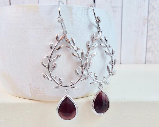 Burgundy & Silver Laurel Wreath Earrings